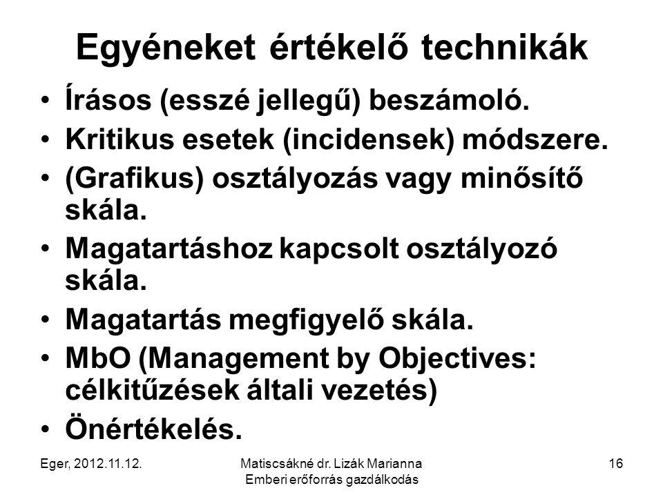 Eger, 2012.11.12.Matiscsákné dr. Lizák Marianna Emberi erőforrás gazdálkodás 16 Egyéneket értékelő technikák Írásos (esszé jellegű) beszámoló. Kritiku
