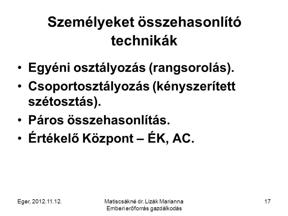 Eger, 2012.11.12.Matiscsákné dr. Lizák Marianna Emberi erőforrás gazdálkodás 17 Személyeket összehasonlító technikák Egyéni osztályozás (rangsorolás).