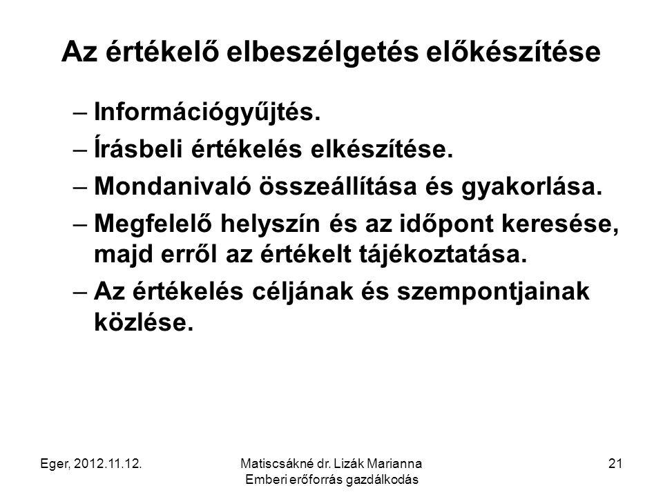Eger, 2012.11.12.Matiscsákné dr. Lizák Marianna Emberi erőforrás gazdálkodás 21 Az értékelő elbeszélgetés előkészítése –Információgyűjtés. –Írásbeli é