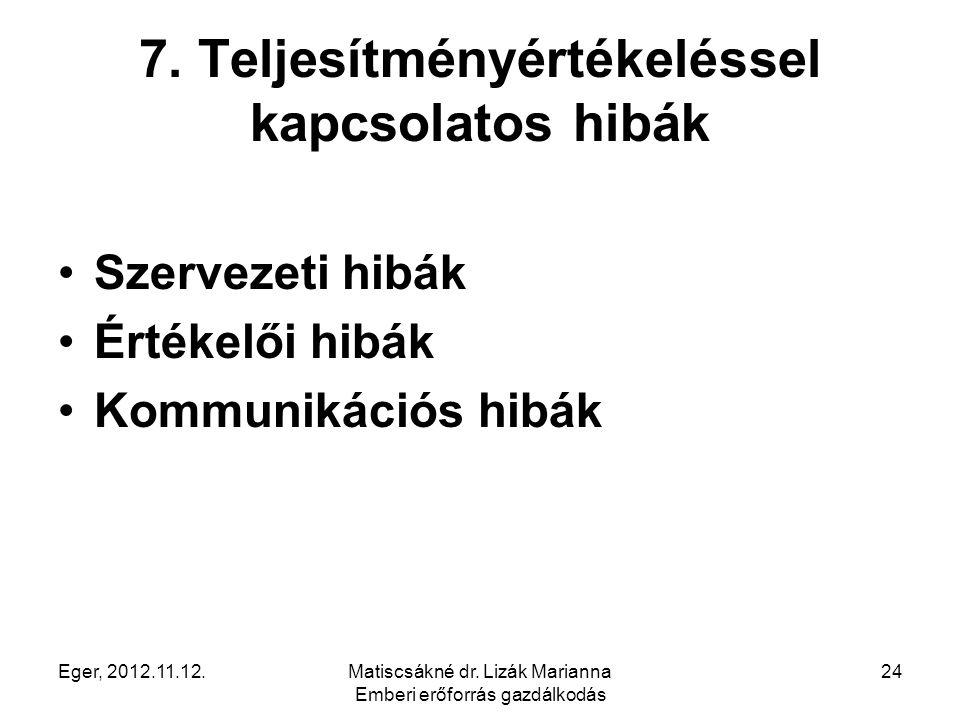 Eger, 2012.11.12.Matiscsákné dr. Lizák Marianna Emberi erőforrás gazdálkodás 24 7. Teljesítményértékeléssel kapcsolatos hibák Szervezeti hibák Értékel