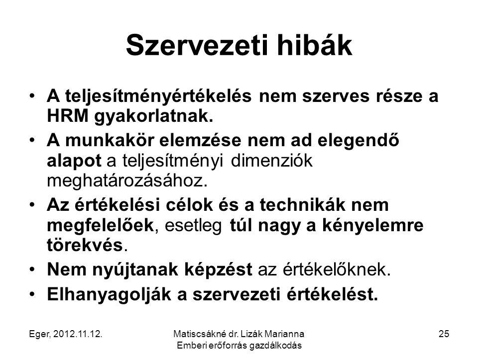 Eger, 2012.11.12.Matiscsákné dr. Lizák Marianna Emberi erőforrás gazdálkodás 25 Szervezeti hibák A teljesítményértékelés nem szerves része a HRM gyako