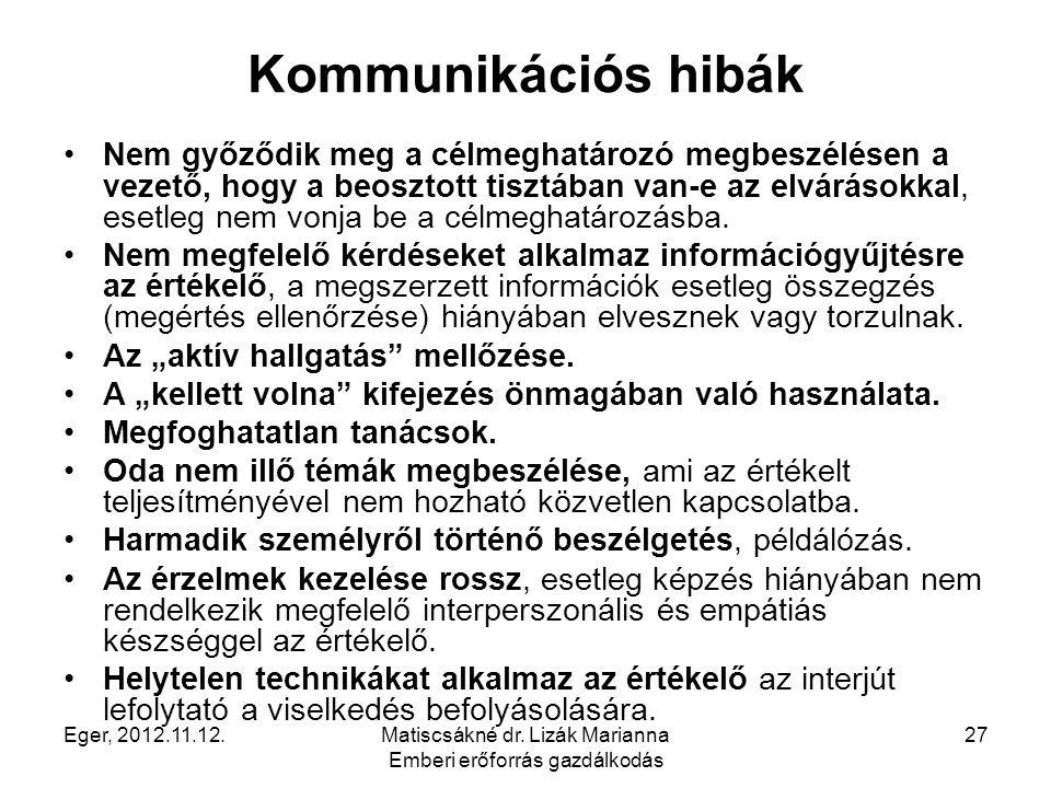 Eger, 2012.11.12.Matiscsákné dr. Lizák Marianna Emberi erőforrás gazdálkodás 27 Kommunikációs hibák Nem győződik meg a célmeghatározó megbeszélésen a