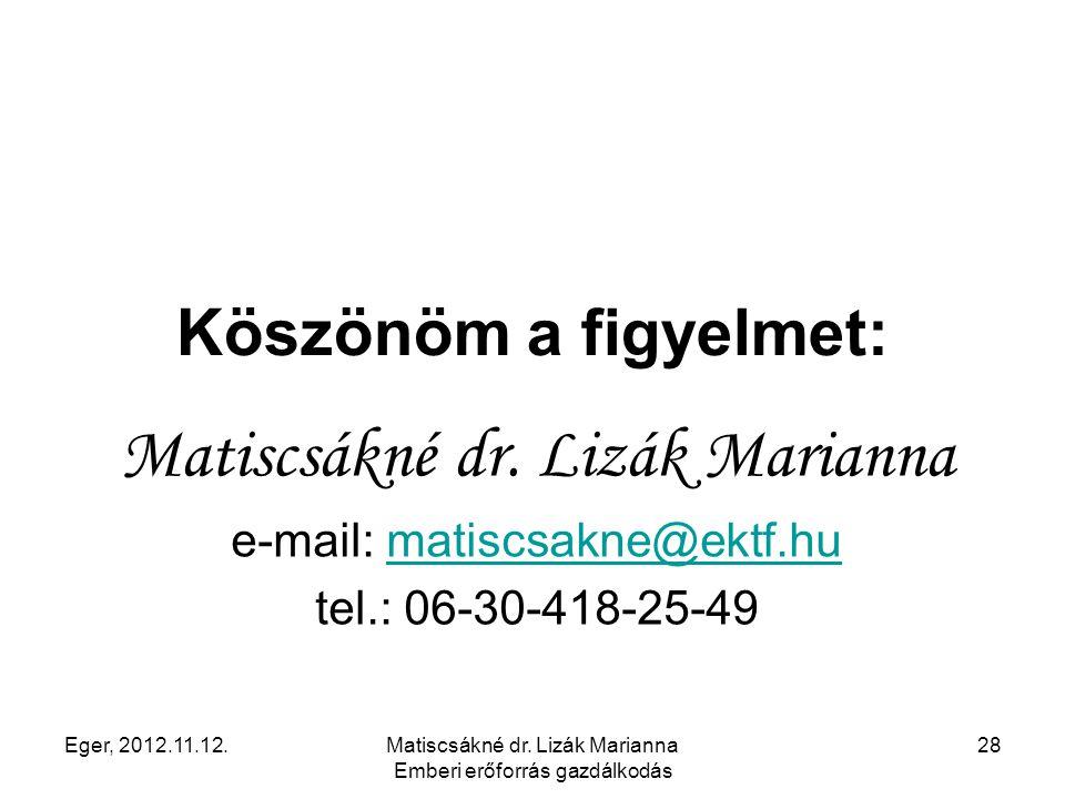 Eger, 2012.11.12.Matiscsákné dr. Lizák Marianna Emberi erőforrás gazdálkodás 28 Köszönöm a figyelmet: Matiscsákné dr. Lizák Marianna e-mail: matiscsak
