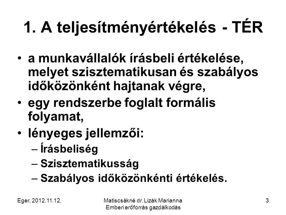 Eger, 2012.11.12.Matiscsákné dr. Lizák Marianna Emberi erőforrás gazdálkodás 3 1. A teljesítményértékelés - TÉR a munkavállalók írásbeli értékelése, m