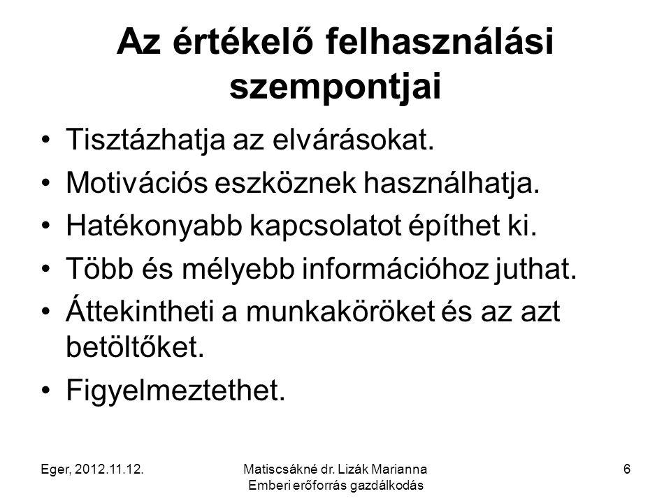 Eger, 2012.11.12.Matiscsákné dr. Lizák Marianna Emberi erőforrás gazdálkodás 6 Az értékelő felhasználási szempontjai Tisztázhatja az elvárásokat. Moti
