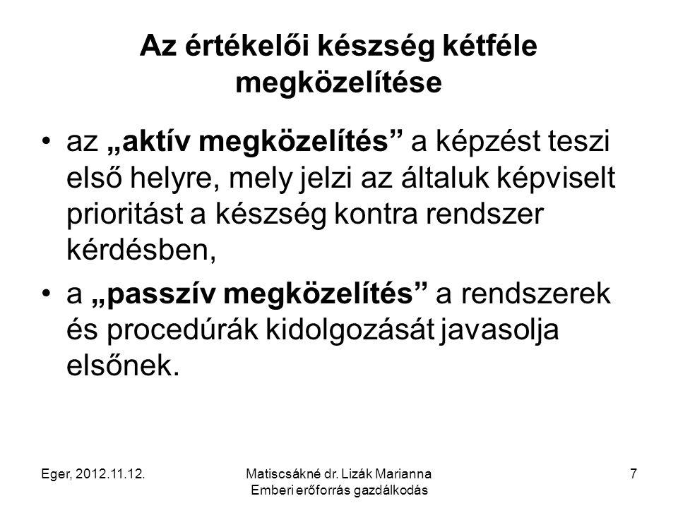 """Eger, 2012.11.12.Matiscsákné dr. Lizák Marianna Emberi erőforrás gazdálkodás 7 Az értékelői készség kétféle megközelítése az """"aktív megközelítés"""" a ké"""