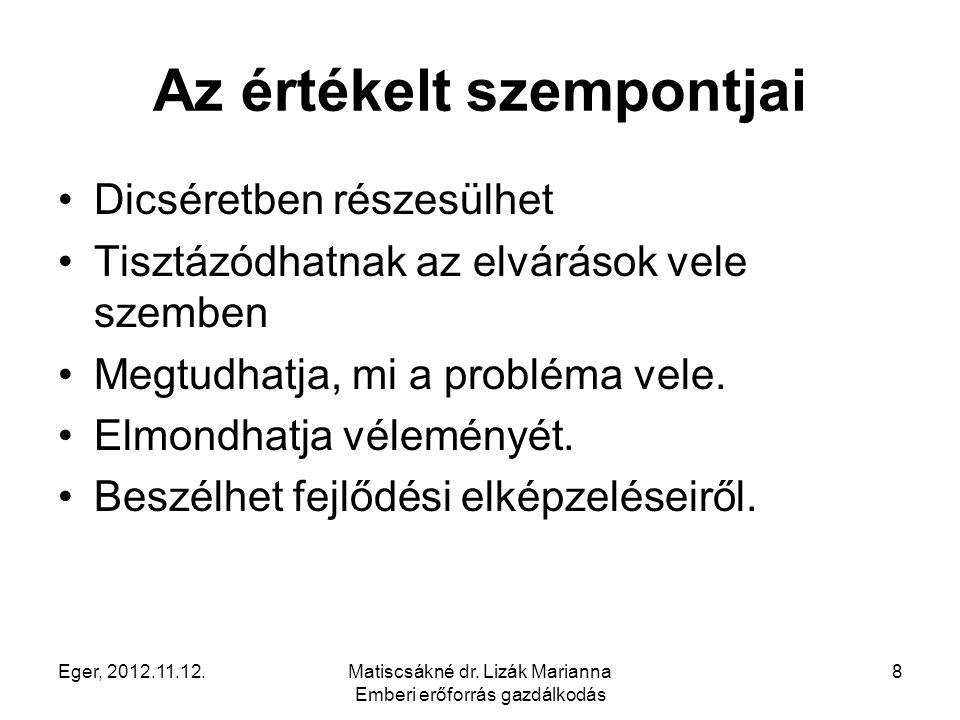 Eger, 2012.11.12.Matiscsákné dr. Lizák Marianna Emberi erőforrás gazdálkodás 8 Az értékelt szempontjai Dicséretben részesülhet Tisztázódhatnak az elvá