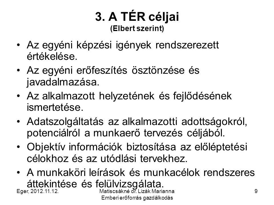 Eger, 2012.11.12.Matiscsákné dr. Lizák Marianna Emberi erőforrás gazdálkodás 9 3. A TÉR céljai (Elbert szerint) Az egyéni képzési igények rendszerezet