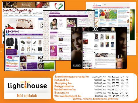 Női oldalak Szeretlekmagyarország.hu Szeretlekmagyarország.hu 2.000.000 AV / hó, 600.000 UV / hó Babanet.hu Babanet.hu 900.000 AV / hó, 150.000 UV / hó Shopping.hu Shopping.hu 500.000 AV / hó, 100.000 UV / hó Betegszoba.hu Betegszoba.hu 240.000 AV / hó, 110.000 UV / hó Modellonline.hu Modellonline.hu 400.000 AV / hó, 35.000 UV / hó Burzsuj.hu Burzsuj.hu 180.000 AV / hó, 80.000 UV / hó WeLoveBudapest.hu WeLoveBudapest.hu 260.000 AV / hó, 40.000 UV / hó Style.hu, Anna.hu, Ezoworld.hu, Drinfo.hu