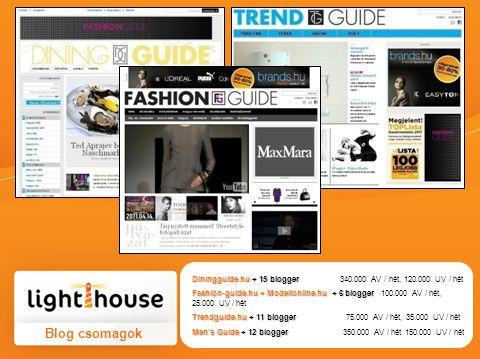 Diningguide.hu + 15 blogger Diningguide.hu + 15 blogger 340.000 AV / hét, 120.000 UV / hét Fashion-guide.hu + Modellonline.hu + 6 blogger Fashion-guide.hu + Modellonline.hu + 6 blogger 100.000 AV / hét, 25.000 UV / hét Trendguide.hu + 11 blogger Trendguide.hu + 11 blogger 75.000 AV / hét, 35.000 UV / hét Men's Guide + 12 blogger Men's Guide + 12 blogger 350.000 AV / hét 150.000 UV / hét Blog csomagok