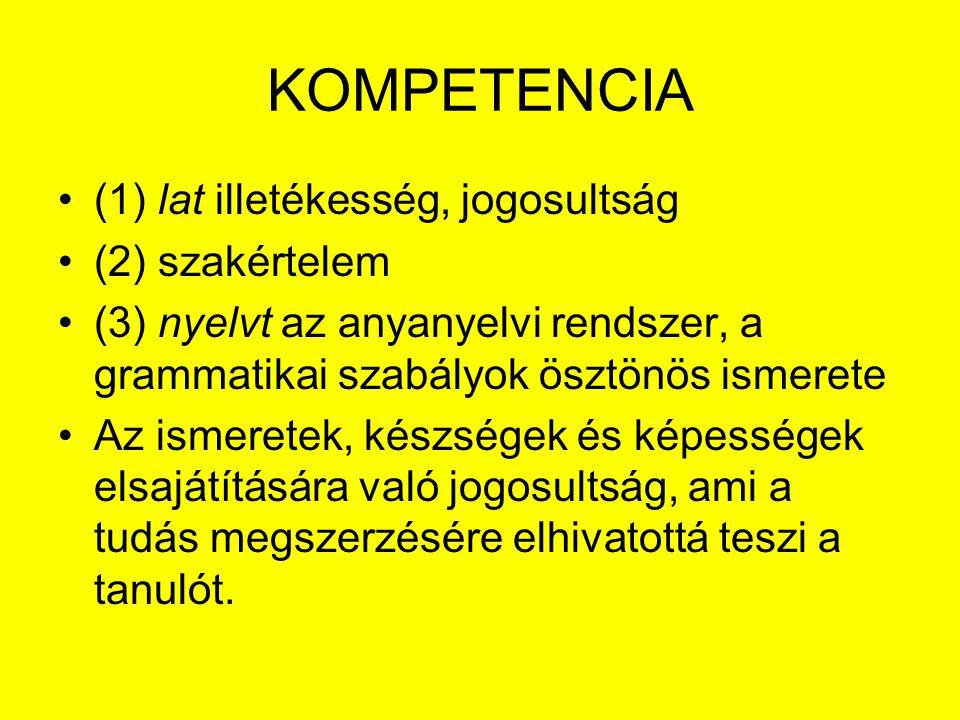 KOMPETENCIA (1) lat illetékesség, jogosultság (2) szakértelem (3) nyelvt az anyanyelvi rendszer, a grammatikai szabályok ösztönös ismerete Az ismerete