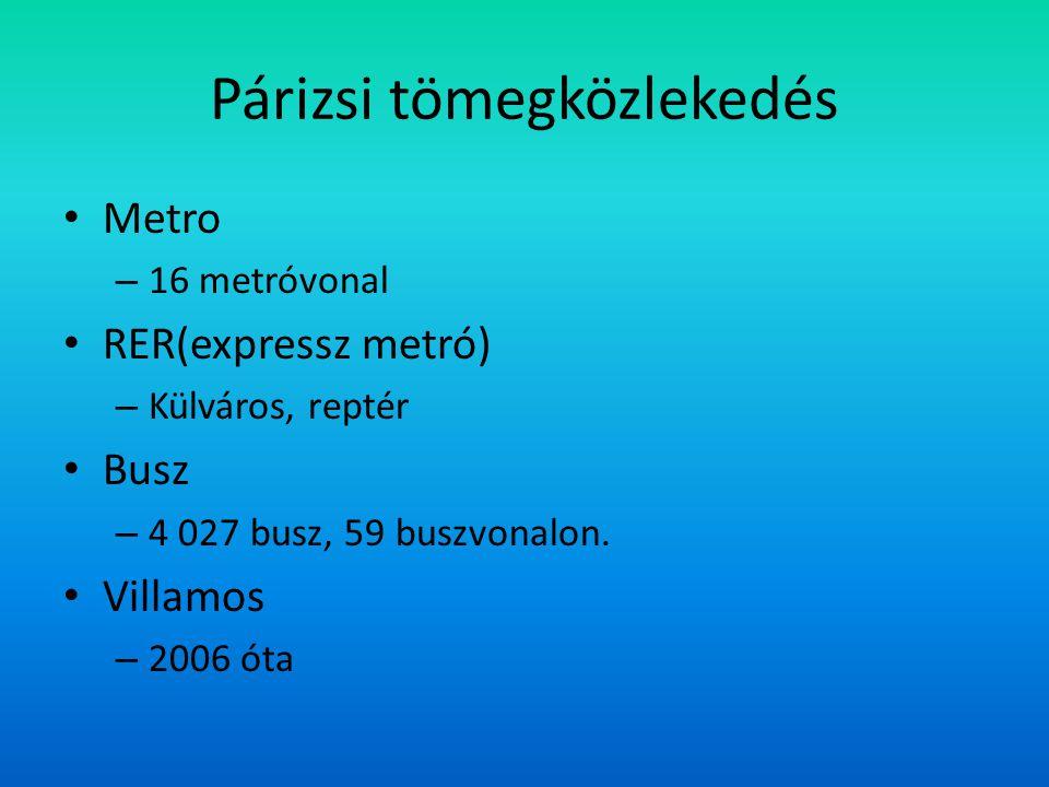 Párizsi tömegközlekedés Metro – 16 metróvonal RER(expressz metró) – Külváros, reptér Busz – 4 027 busz, 59 buszvonalon.