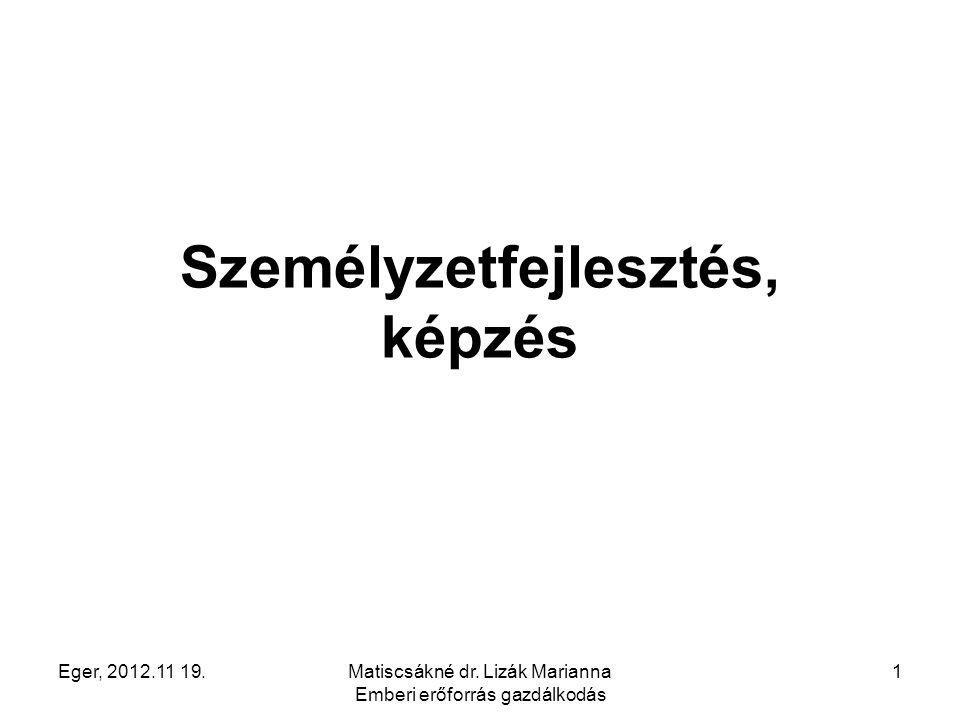 Eger, 2012.11 19.Matiscsákné dr. Lizák Marianna Emberi erőforrás gazdálkodás 1 Személyzetfejlesztés, képzés