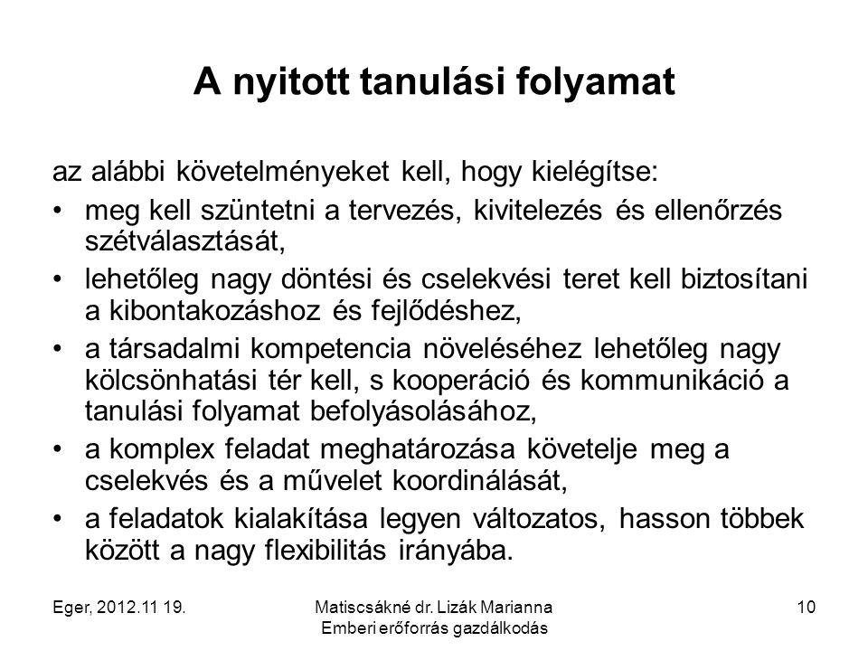 Eger, 2012.11 19.Matiscsákné dr. Lizák Marianna Emberi erőforrás gazdálkodás 10 A nyitott tanulási folyamat az alábbi követelményeket kell, hogy kielé