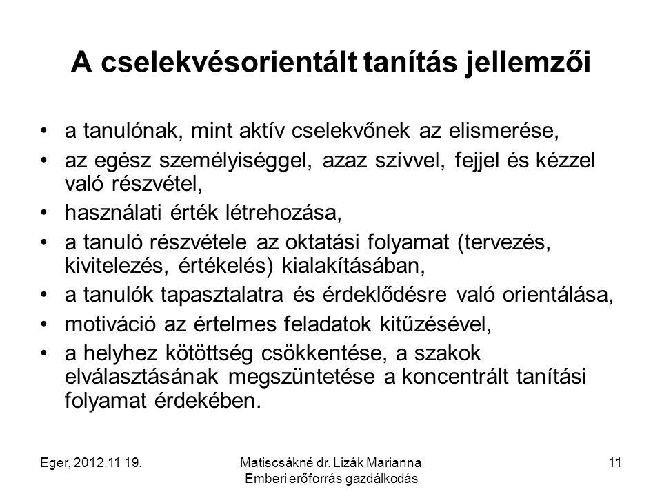 Eger, 2012.11 19.Matiscsákné dr. Lizák Marianna Emberi erőforrás gazdálkodás 11 A cselekvésorientált tanítás jellemzői a tanulónak, mint aktív cselekv
