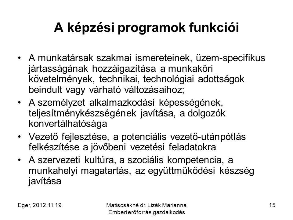 Eger, 2012.11 19.Matiscsákné dr. Lizák Marianna Emberi erőforrás gazdálkodás 15 A képzési programok funkciói A munkatársak szakmai ismereteinek, üzem-