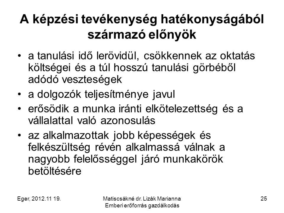 Eger, 2012.11 19.Matiscsákné dr. Lizák Marianna Emberi erőforrás gazdálkodás 25 A képzési tevékenység hatékonyságából származó előnyök a tanulási idő