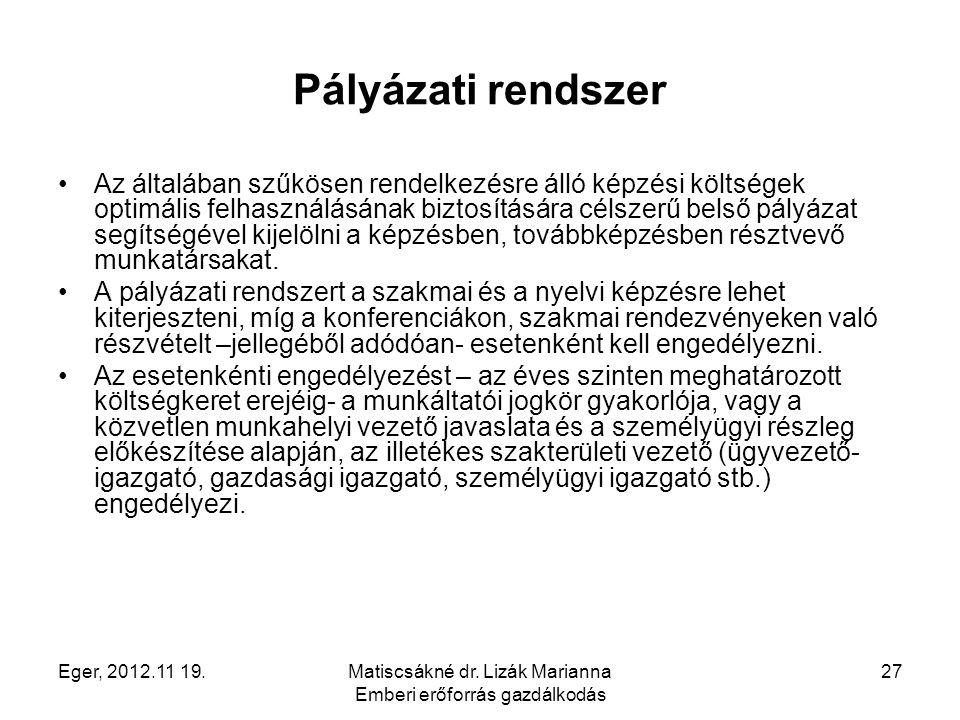 Eger, 2012.11 19.Matiscsákné dr. Lizák Marianna Emberi erőforrás gazdálkodás 27 Pályázati rendszer Az általában szűkösen rendelkezésre álló képzési kö