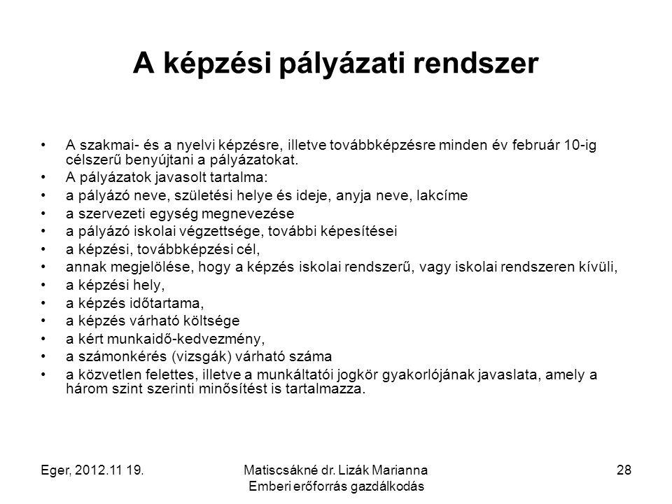 Eger, 2012.11 19.Matiscsákné dr. Lizák Marianna Emberi erőforrás gazdálkodás 28 A képzési pályázati rendszer A szakmai- és a nyelvi képzésre, illetve