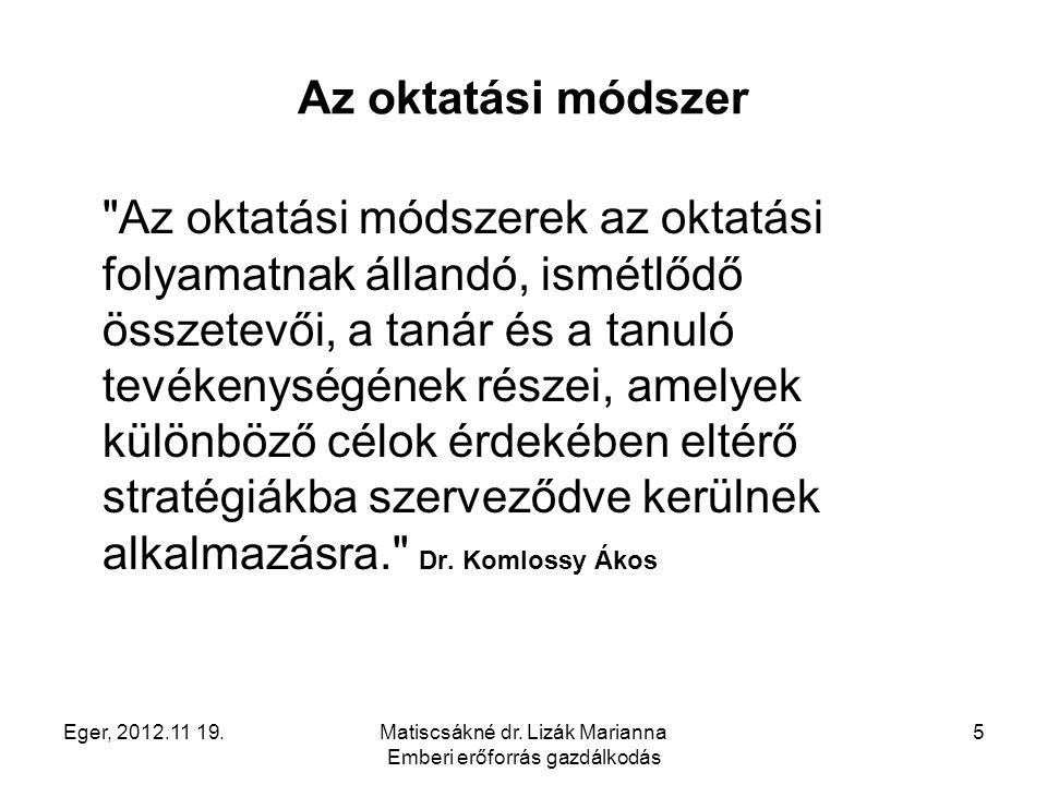 Eger, 2012.11 19.Matiscsákné dr. Lizák Marianna Emberi erőforrás gazdálkodás 5 Az oktatási módszer