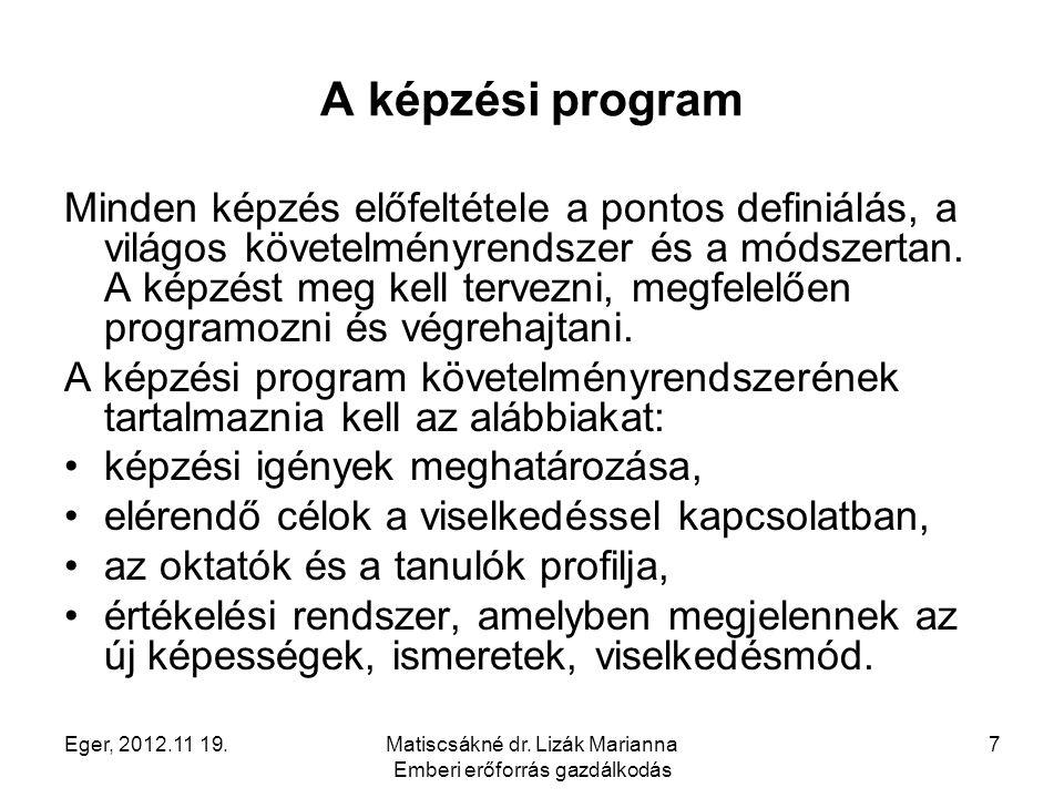 Eger, 2012.11 19.Matiscsákné dr. Lizák Marianna Emberi erőforrás gazdálkodás 7 A képzési program Minden képzés előfeltétele a pontos definiálás, a vil