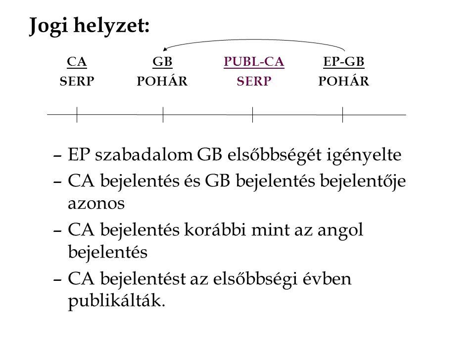 –EP szabadalom GB elsőbbségét igényelte –CA bejelentés és GB bejelentés bejelentője azonos –CA bejelentés korábbi mint az angol bejelentés –CA bejelentést az elsőbbségi évben publikálták.