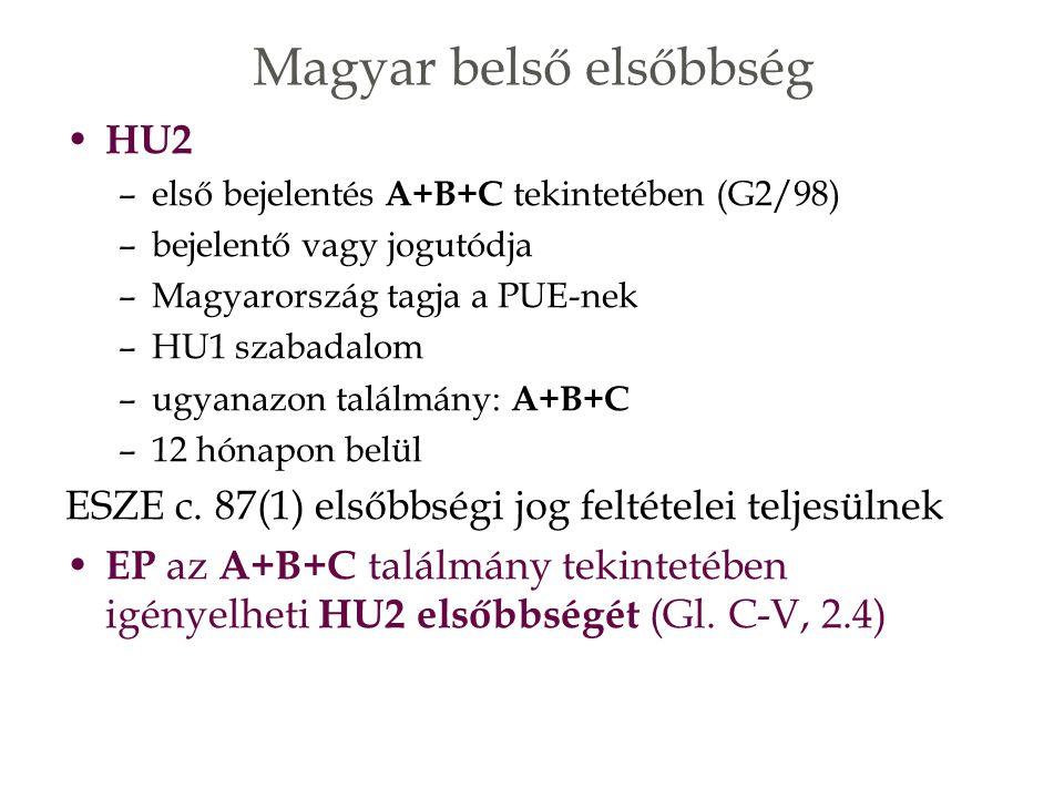 HU2 –első bejelentés A+B+C tekintetében (G2/98) –bejelentő vagy jogutódja –Magyarország tagja a PUE-nek –HU1 szabadalom –ugyanazon találmány: A+B+C –12 hónapon belül ESZE c.
