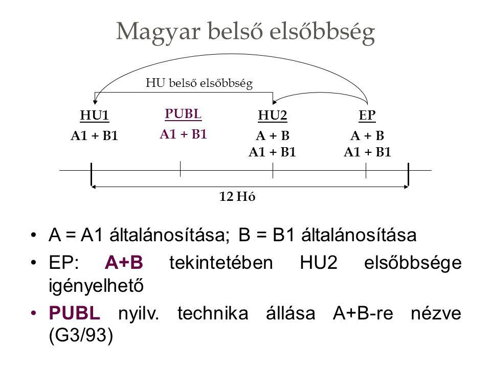 Magyar belső elsőbbség A = A1 általánosítása; B = B1 általánosítása EP: A+B tekintetében HU2 elsőbbsége igényelhető PUBL nyilv.