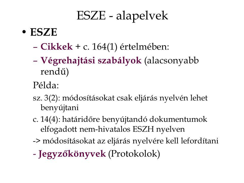 ESZE - alapelvek ESZE – Cikkek + c.