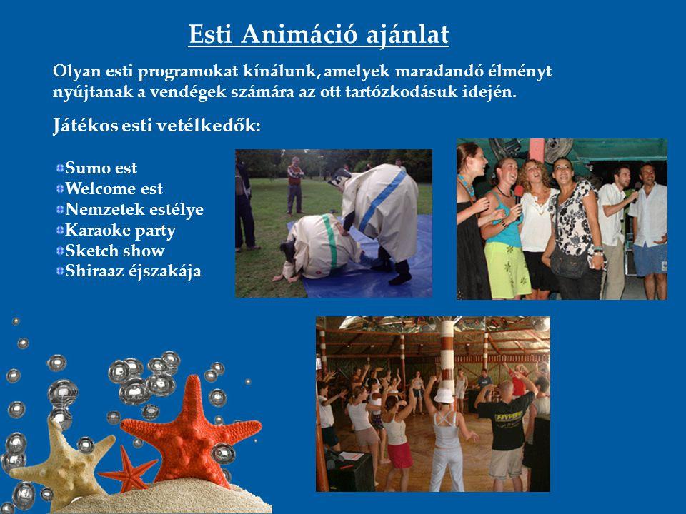 Esti Animáció ajánlat Olyan esti programokat kínálunk, amelyek maradandó élményt nyújtanak a vendégek számára az ott tartózkodásuk idején. Játékos est