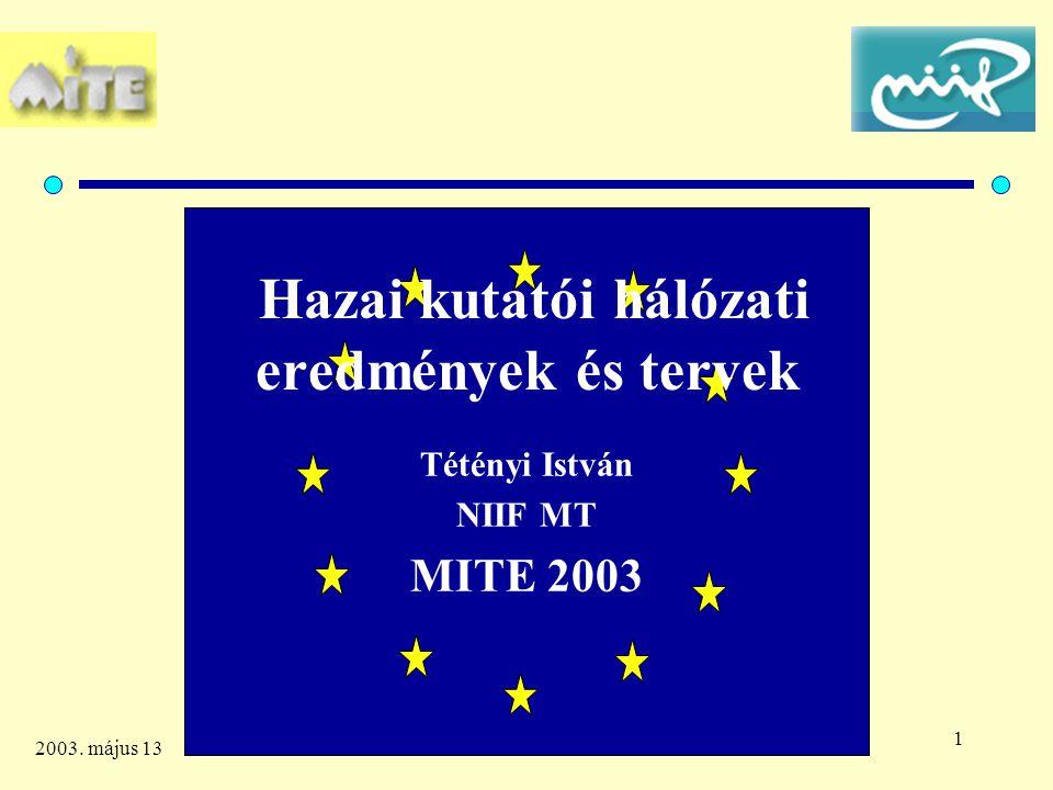 1 2003. május 13 Hazai kutatói hálózati eredmények és tervek Tétényi István NIIF MT MITE 2003