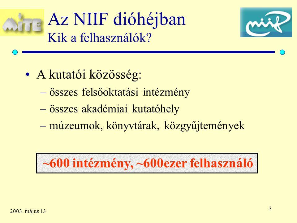 4 2003. május 13 Az NIIF dióhéjban Kik a felhasználók ? 2003. januári adatok