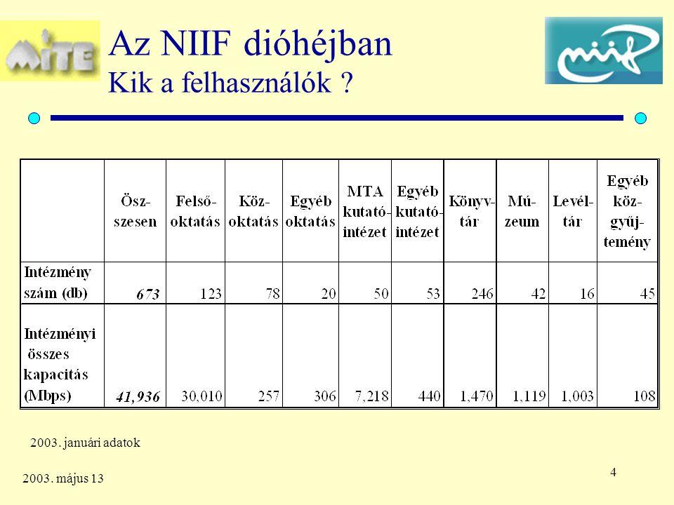 4 2003. május 13 Az NIIF dióhéjban Kik a felhasználók 2003. januári adatok