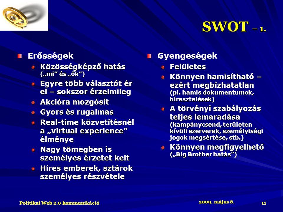 2009. május 8. Politikai Web 2.0 kommunikáció 11 SWOT – 1.