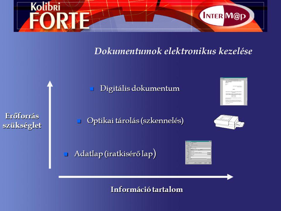 n Digitális dokumentum n Optikai tárolás (szkennelés) Információ tartalom Erőforrásszükséglet n Adatlap (iratkisérő lap ) Dokumentumok elektronikus kezelése