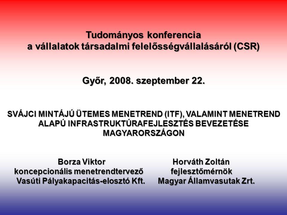 Tudományos konferencia a vállalatok társadalmi felelősségvállalásáról (CSR) Győr, 2008. szeptember 22. SVÁJCI MINTÁJÚ ÜTEMES MENETREND (ITF), VALAMINT