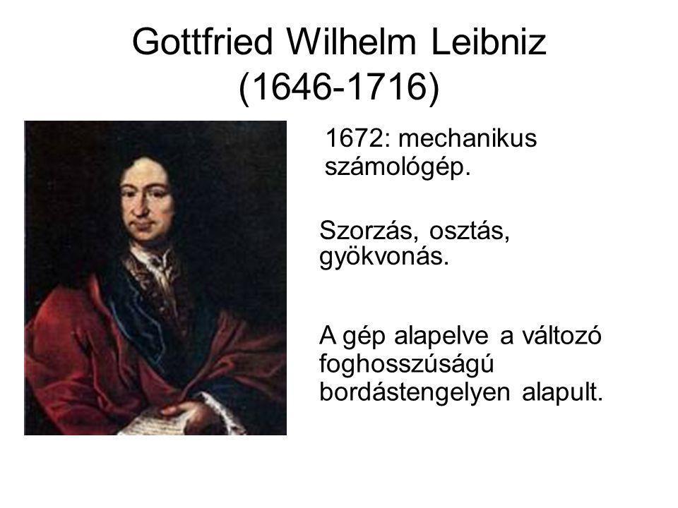 Gottfried Wilhelm Leibniz (1646-1716) 1672: mechanikus számológép. Szorzás, osztás, gyökvonás. A gép alapelve a változó foghosszúságú bordástengelyen