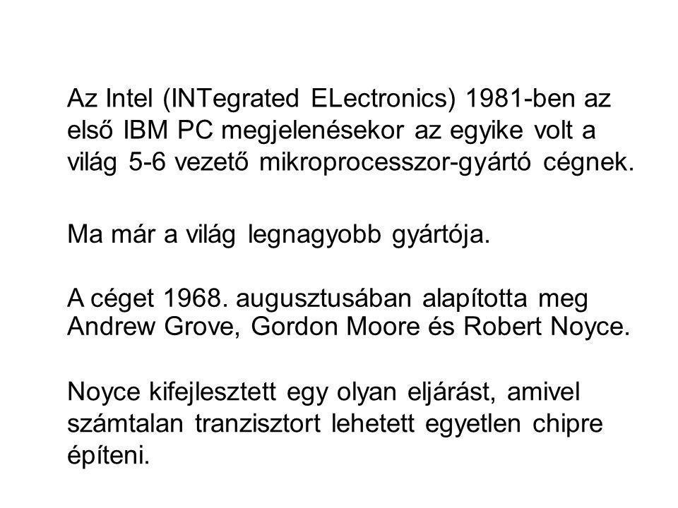 Az Intel (INTegrated ELectronics) 1981-ben az első IBM PC megjelenésekor az egyike volt a világ 5-6 vezető mikroprocesszor-gyártó cégnek. Noyce kifejl