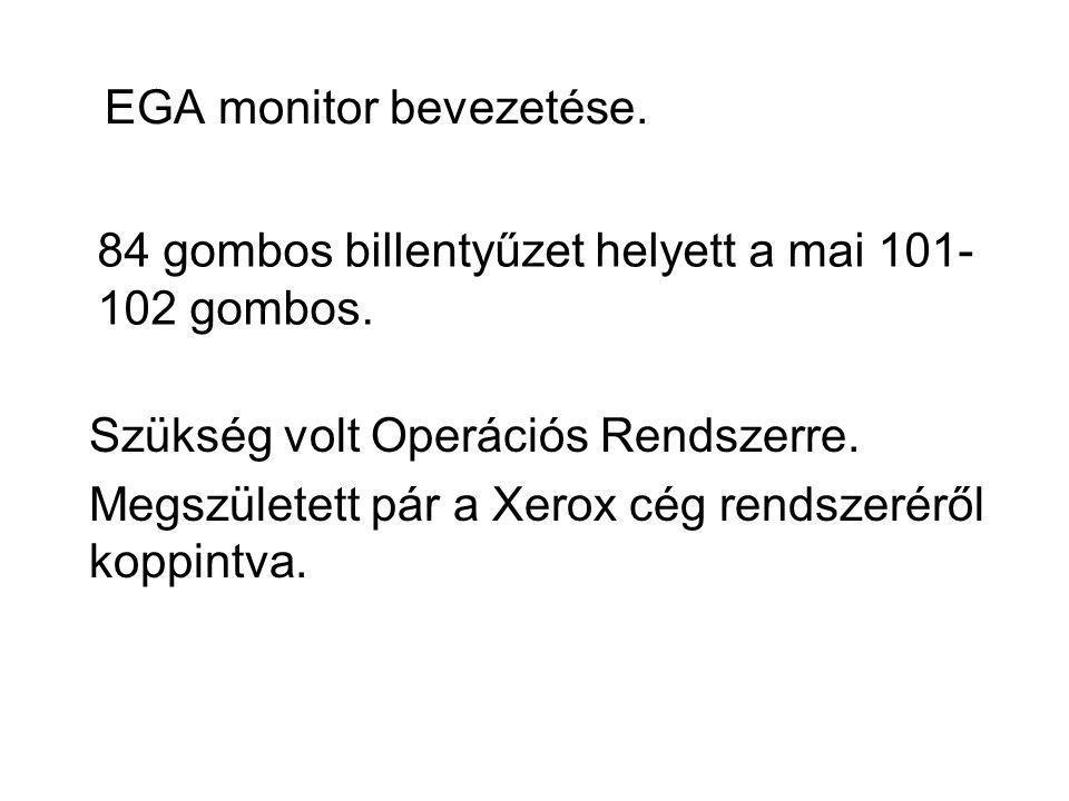 EGA monitor bevezetése. Szükség volt Operációs Rendszerre. Megszületett pár a Xerox cég rendszeréről koppintva. 84 gombos billentyűzet helyett a mai 1