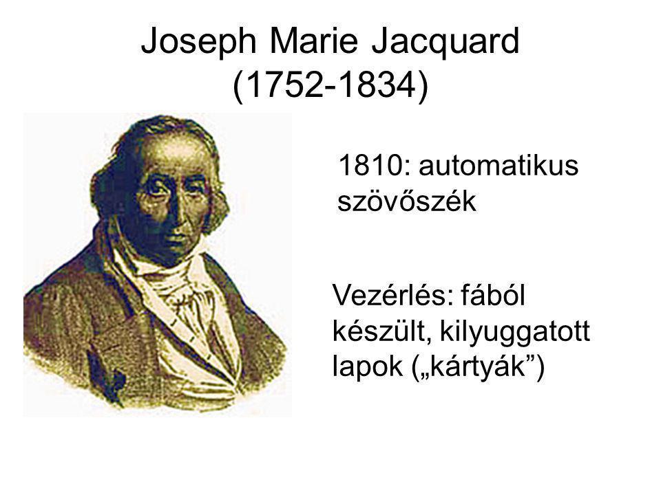 """Joseph Marie Jacquard (1752-1834) 1810: automatikus szövőszék Vezérlés: fából készült, kilyuggatott lapok (""""kártyák"""")"""