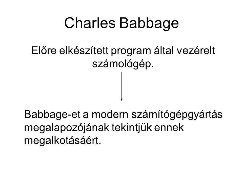 Charles Babbage Előre elkészített program által vezérelt számológép. Babbage-et a modern számítógépgyártás megalapozójának tekintjük ennek megalkotásá