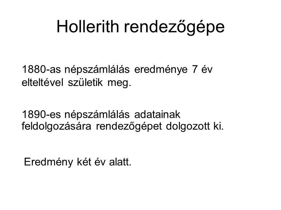 Hollerith rendezőgépe Eredmény két év alatt. 1880-as népszámlálás eredménye 7 év elteltével születik meg. 1890-es népszámlálás adatainak feldolgozásár