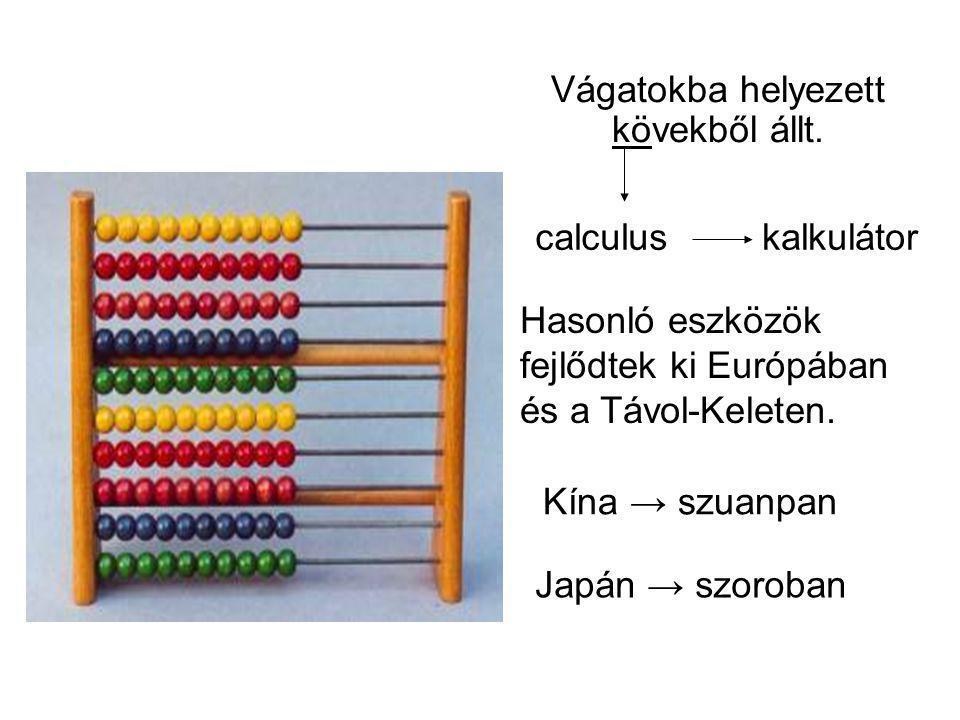 Vágatokba helyezett kövekből állt. calculuskalkulátor Hasonló eszközök fejlődtek ki Európában és a Távol-Keleten. Kína → szuanpan Japán → szoroban