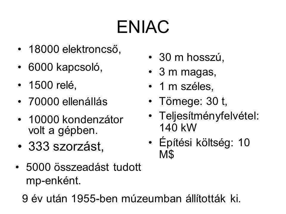 ENIAC 5000 összeadást tudott mp-enként. 30 m hosszú, 3 m magas, 1 m széles, Tömege: 30 t, Teljesítményfelvétel: 140 kW Építési költség: 10 M$ 9 év utá
