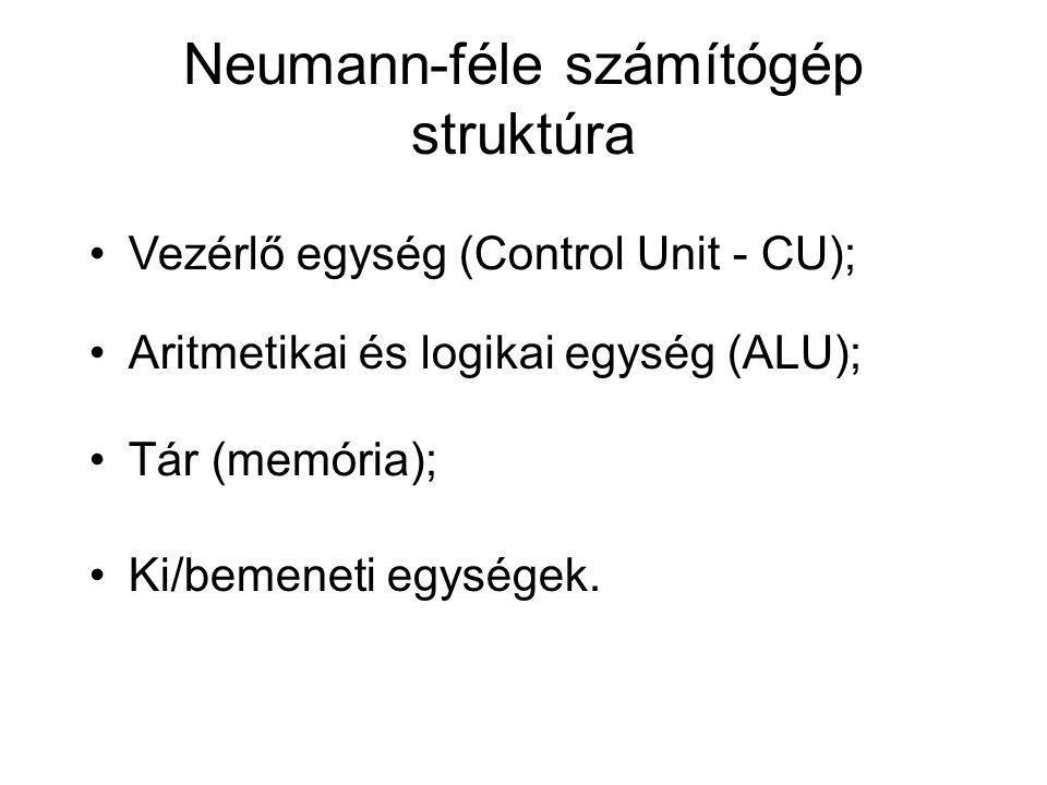 Neumann-féle számítógép struktúra Ki/bemeneti egységek. Vezérlő egység (Control Unit - CU); Aritmetikai és logikai egység (ALU); Tár (memória);