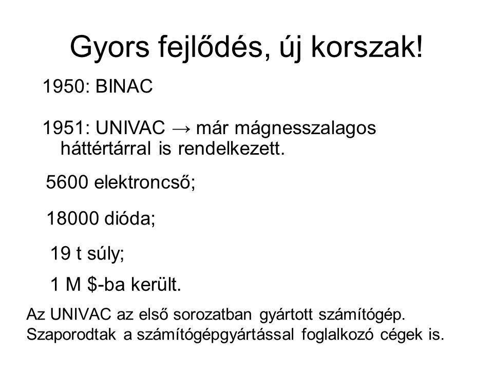 Gyors fejlődés, új korszak! Az UNIVAC az első sorozatban gyártott számítógép. Szaporodtak a számítógépgyártással foglalkozó cégek is. 1950: BINAC 1951