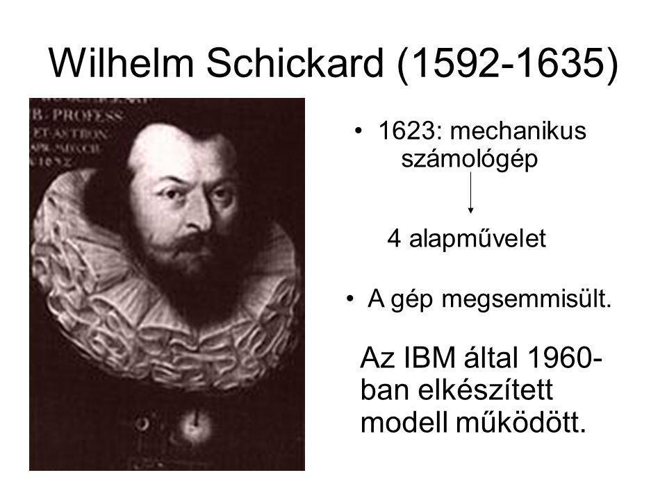 Wilhelm Schickard (1592-1635) Az IBM által 1960- ban elkészített modell működött. 1623: mechanikus számológép 4 alapművelet A gép megsemmisült.