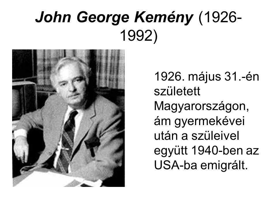John George Kemény (1926- 1992) 1926. május 31.-én született Magyarországon, ám gyermekévei után a szüleivel együtt 1940-ben az USA-ba emigrált.