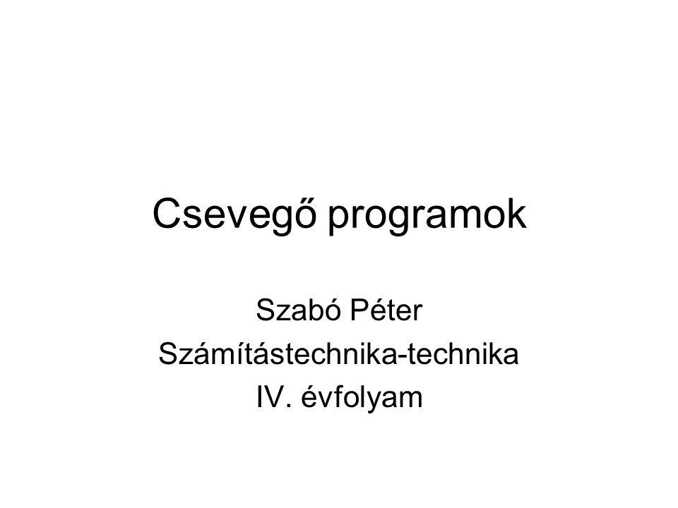Csevegő programok Szabó Péter Számítástechnika-technika IV. évfolyam