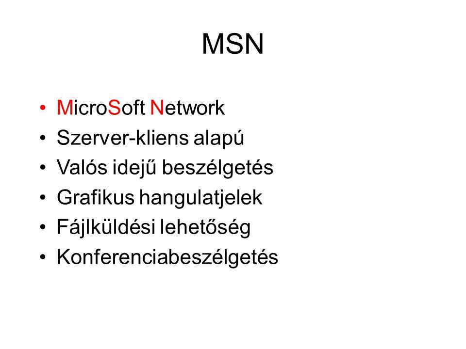 MSN MicroSoft Network Szerver-kliens alapú Valós idejű beszélgetés Grafikus hangulatjelek Fájlküldési lehetőség Konferenciabeszélgetés